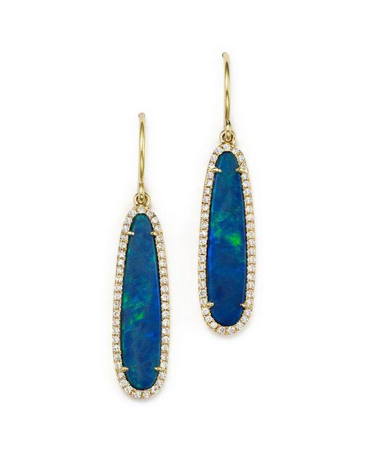 Meira T - Metallic 14k Yellow Gold Opal Earrings With Diamonds - Lyst