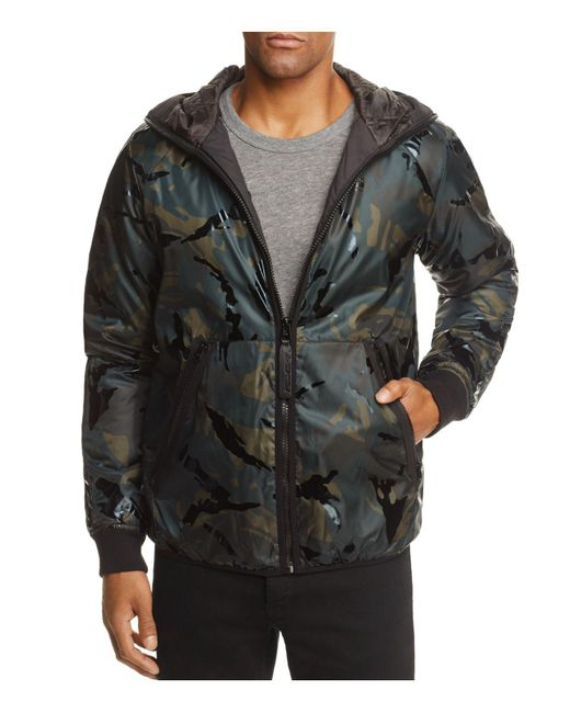 lyst g star raw padded camouflage hooded jacket in black for men. Black Bedroom Furniture Sets. Home Design Ideas