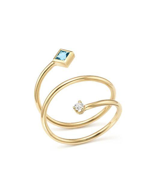 Zoe Chicco - Metallic 14k Yellow Gold Diamond And Aquamarine Wrap Ring - Lyst