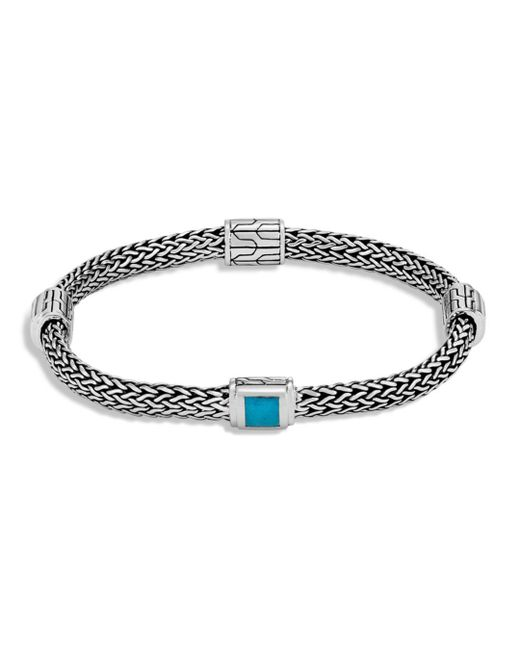 John Hardy - Metallic Sterling Silver Classic Chain Extra Small Four Station Bracelet With Turquoise - Lyst
