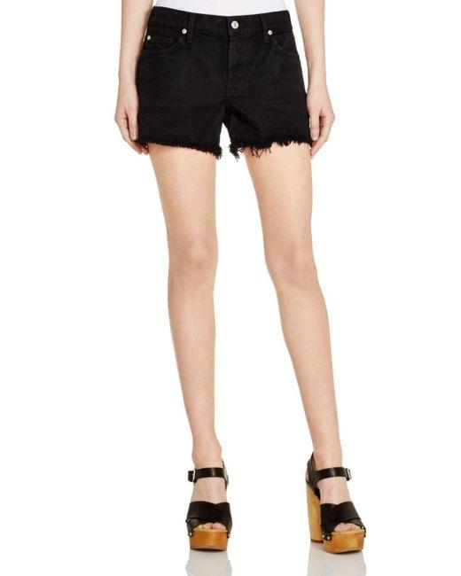 7 For All Mankind Denim Cutoff Shorts In Black