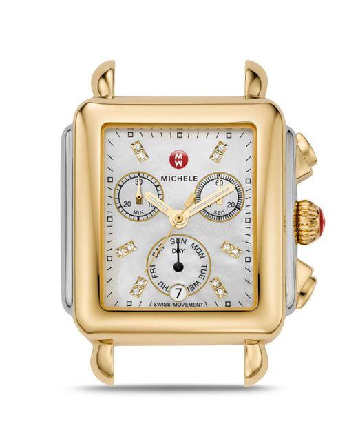 Michele Metallic Deco Day Two - Tone Diamond Dial Watch Head