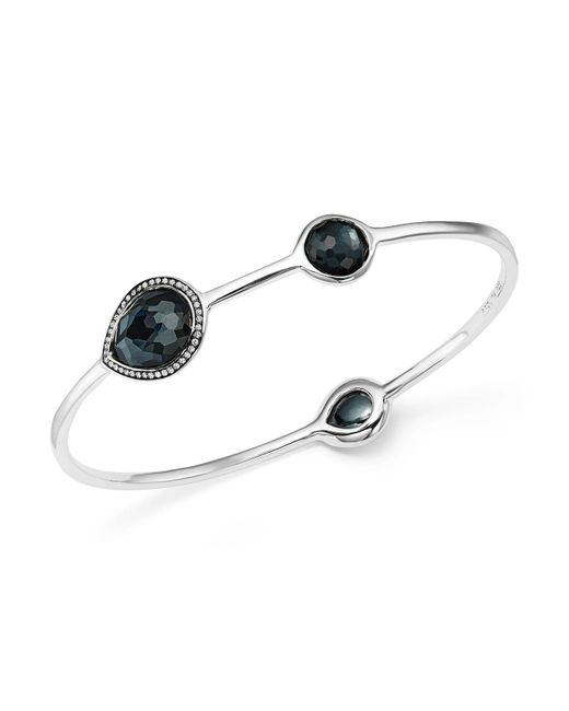 Ippolita | White Sterling Silver Lollipop® Three Stone Bangle In Hematite Doublet With Diamonds | Lyst