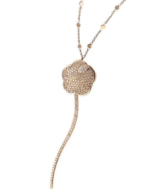 Pasquale Bruni Metallic 18k Rose Gold Joli White & Champagne Diamond Pendant Necklace