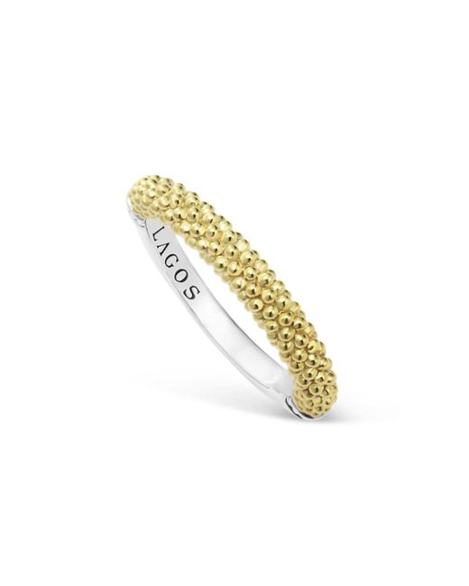 Lagos - Metallic Sterling Silver And 18k Gold Caviar Beaded Stacking Ring - Lyst