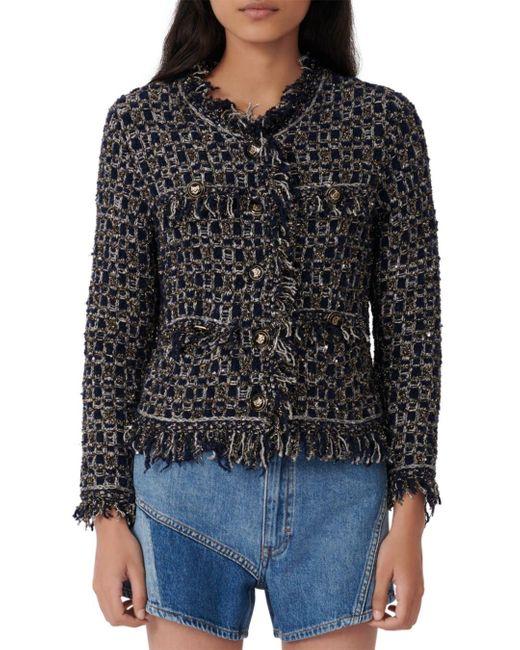 Maje Blue Mimir Fancy Lurex Knit Tweed Cardigan