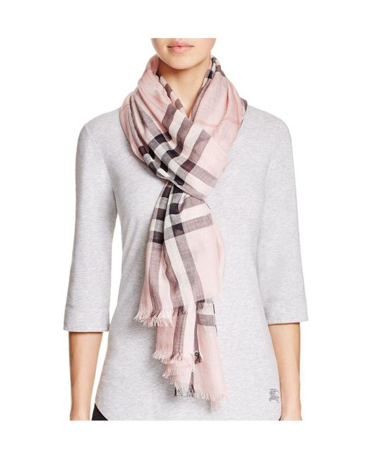 Burberry - Multicolor Giant Check Wool & Silk Gauze Scarf - Lyst