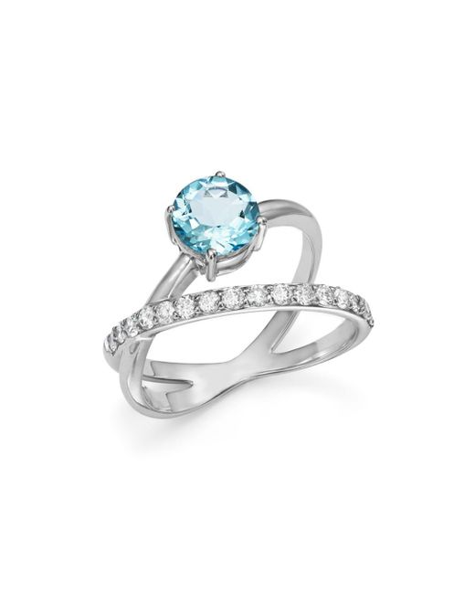 Bloomingdale's - Multicolor Aquamarine & Diamond Crossover Ring In 14k White Gold - Lyst