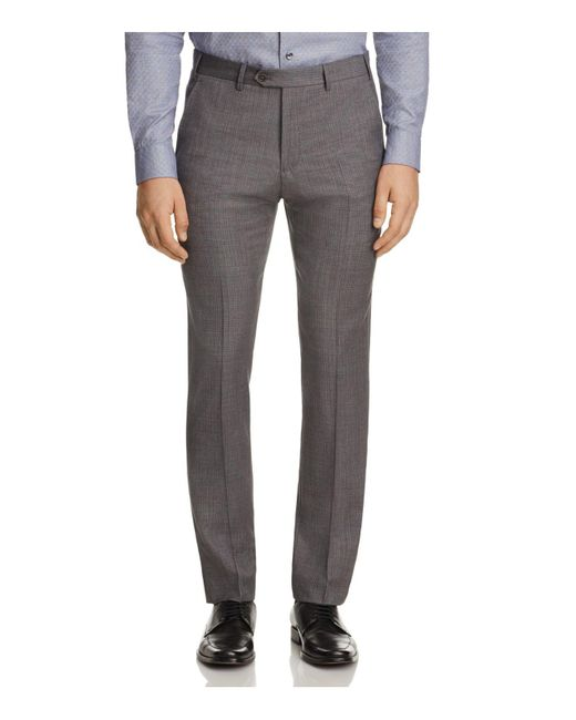 Armani | Gray Tonal Crosshatch Classic Fit Trousers for Men | Lyst