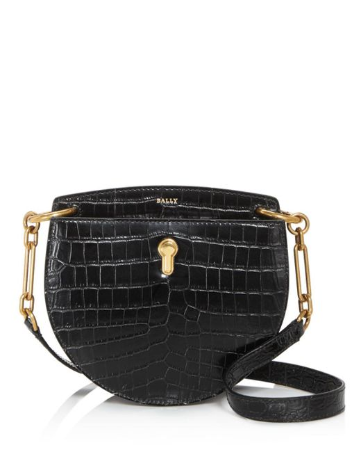Bally Black Cecyle Small Croc - Embossed Leather Crossbody
