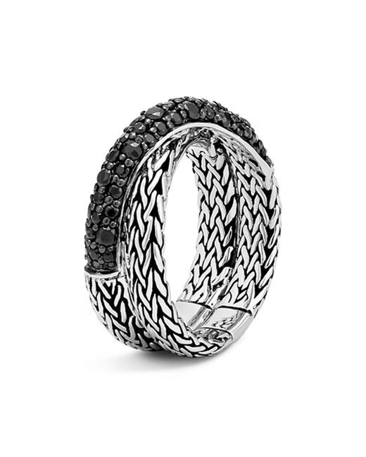 John Hardy | Metallic Sterling Silver Classic Chain Overlap Ring With Black Sapphire | Lyst