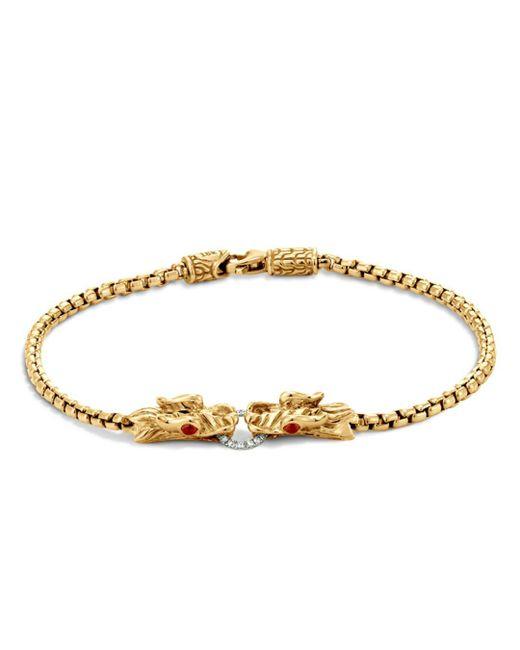 John Hardy - Metallic 18k Yellow Gold Legends Naga Bracelet With Diamond Pavé & African Ruby - Lyst
