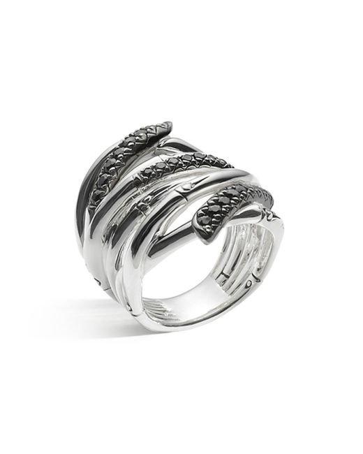 John Hardy - Metallic Women's Sterling Silver Bamboo Lava Extra Wide Ring With Black Sapphires - Lyst