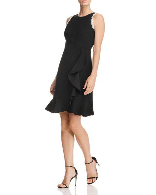 Nanette Nanette Lepore - Black Ruffled Crepe Dress - Lyst