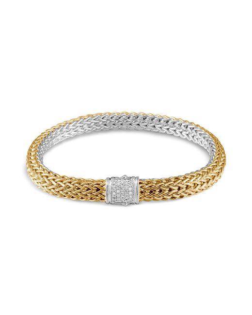John Hardy | Metallic Classic Chain 18k Gold And Sterling Silver Small Reversible Bracelet With Pavé Diamonds | Lyst