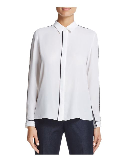 T Tahari - White Tyra Piped Button-down Top - Lyst