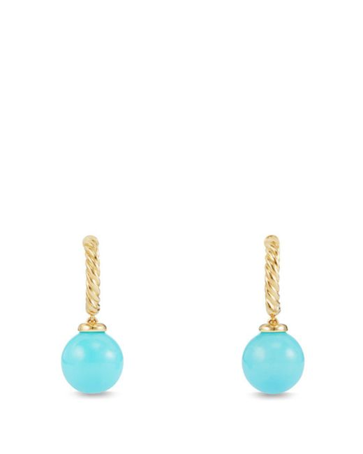 David Yurman - Blue Solari Hoop Earrings With Turquoise In 18k Gold - Lyst