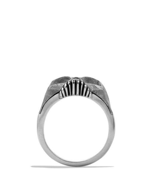 David Yurman Metallic Skull Ring With Carved Meteorite for men