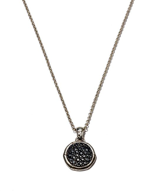 John Hardy Metallic Bamboo Silver Small Round Pendant With Black Sapphire On Chain Necklace