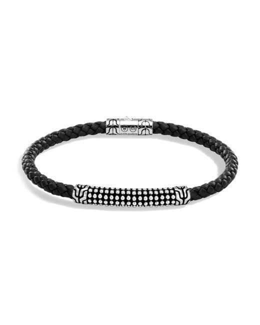 John Hardy | Metallic Men's Sterling Silver Classic Chain Jawan Bracelet With Black Woven Leather for Men | Lyst