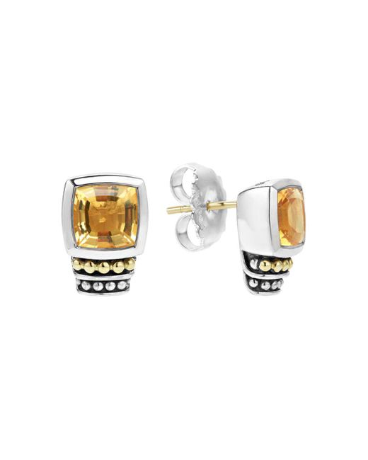 Lagos - Metallic 18k Gold And Sterling Silver Caviar Color Citrine Stud Earrings - Lyst