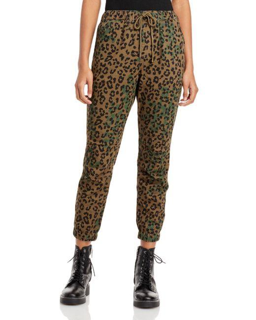 Pam & Gela Green Jaguar Print Cargo Pants