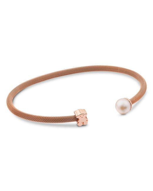 Tous - Pink Cultured Freshwater Pearl & Bear Open Cuff - Lyst