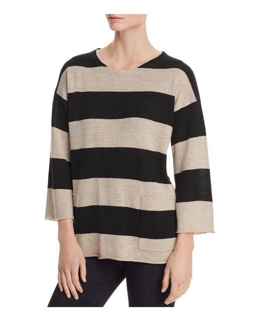 Eileen Fisher - Black Organic Linen Awning-stripe Sweater - Lyst