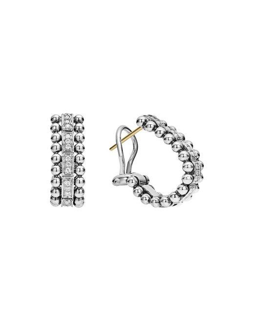 Lagos | Metallic Sterling Silver Caviar Spark Diamond Oval Hoop Earrings | Lyst