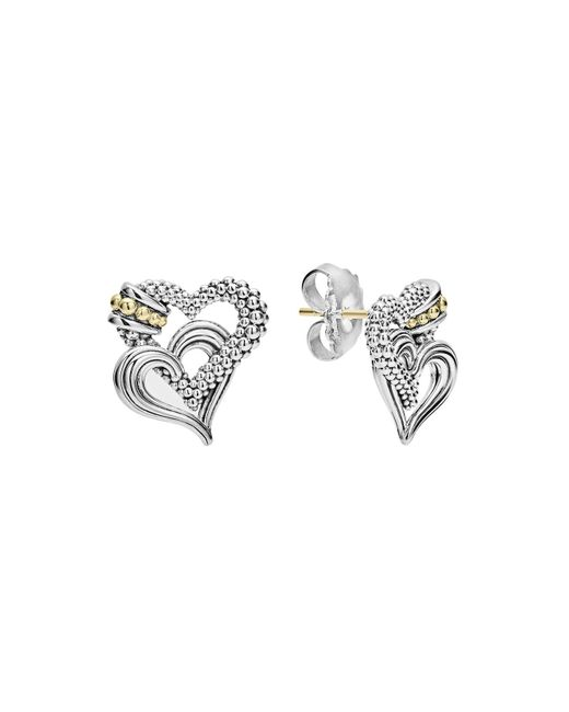 Lagos | Metallic 18k Gold And Sterling Silver Beloved Double Heart Stud Earrings | Lyst