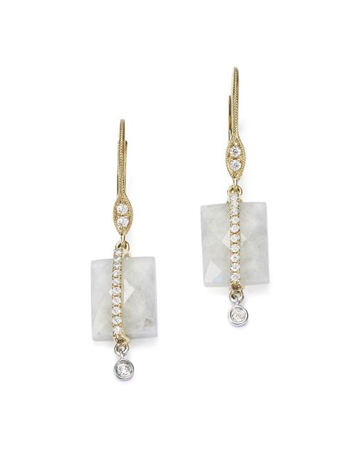 Meira T - 14k White And Yellow Gold Rainbow Moonstone And Diamond Square Drop Earrings - Lyst