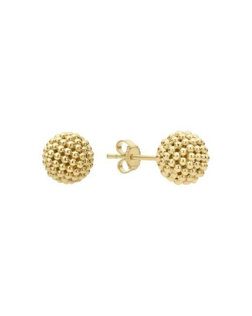 Lagos Metallic Caviar Gold Collection 18k Gold Stud Earrings