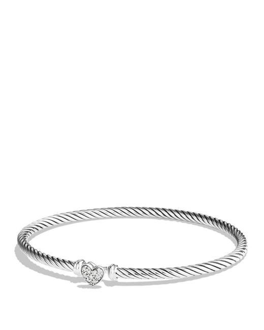 David Yurman - Metallic Cable Collectibles Heart Bracelet with Diamonds - Lyst