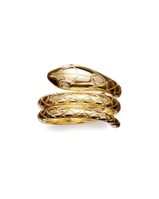 Temple St. Clair   Metallic 18k Gold Serpent Ring With Diamond Eyes, .02 Ct. T.w.   Lyst