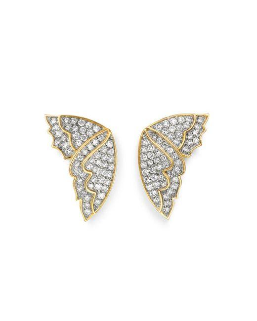 Bloomingdale's Multicolor Diamond Butterfly Wing Stud Earrings In 14k Yellow Gold