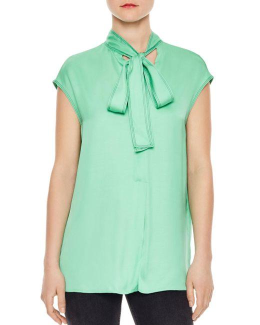 Sandro - Green Lana Tie-detail Top - Lyst