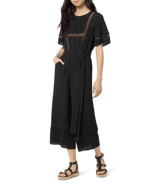 MICHAEL Michael Kors Black Lace - Inset Wide - Leg Jumpsuit