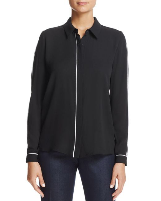 T Tahari - Black Tyra Piped Button-down Top - Lyst