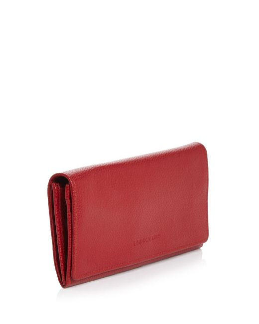 Longchamp Leather Veau Foulonne Checkbook Wallet in Caramel (Red ...