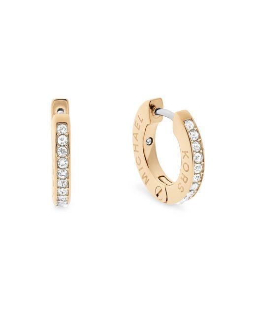 Michael Kors   Metallic Pavé Logo Huggie Earrings   Lyst
