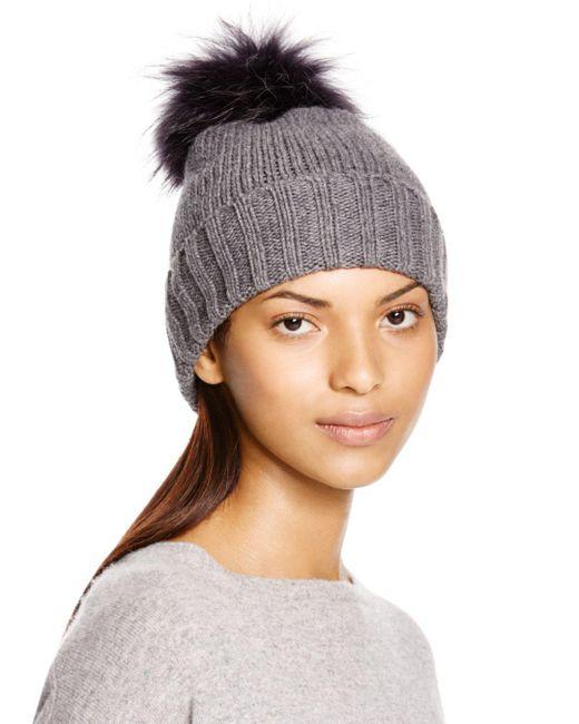 Inverni - Gray Foldover Knit Beanie With Asiatic Raccoon Fur Pom-pom - Lyst