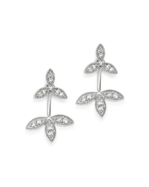 Adina Reyter Metallic Sterling Silver Diamond Double Flower Drop Earrings