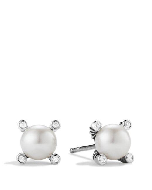David Yurman - Metallic Small Pearl Earrings With Diamonds - Lyst