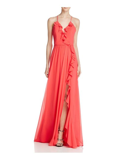 Faviana Couture   Red Ruffle Front-slit Gown   Lyst