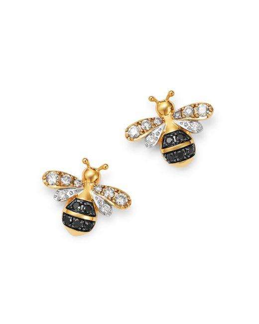 Bloomingdale's Metallic Black & White Diamond Bumble Bee Earrings In 14k Yellow Gold
