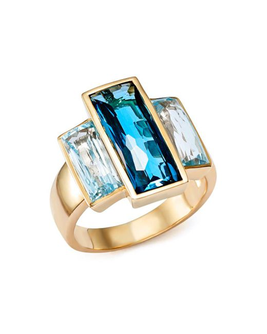 Bloomingdale's - London Blue And Sky Blue Topaz Three Stone Ring In 14k Yellow Gold - Lyst