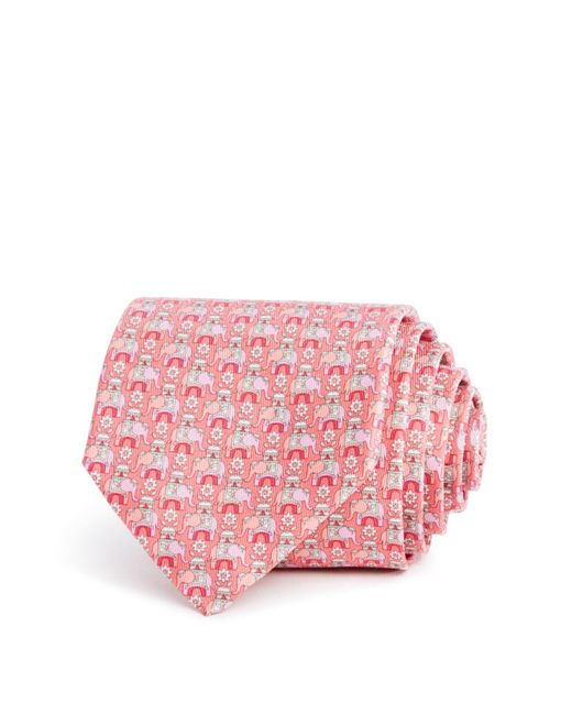 Ferragamo   Pink Macro Elephant Classic Tie for Men   Lyst