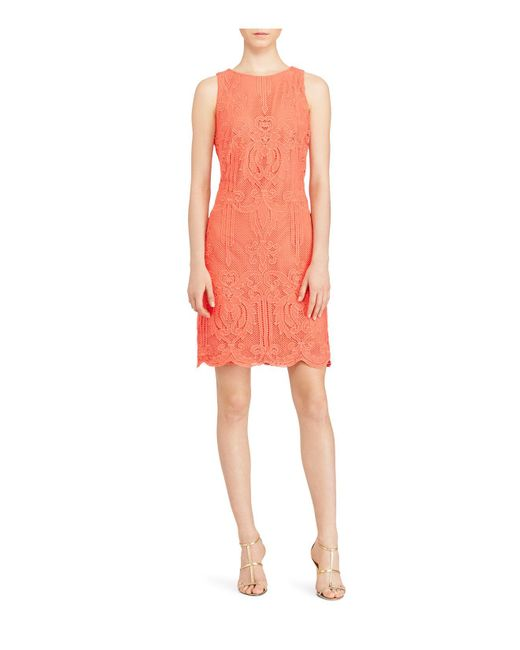 Ralph Lauren | Orange Lauren Lace Sheath Dress | Lyst