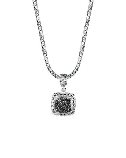 John Hardy Metallic Sterling Silver Classic Chain Medium Square Pendant With Black Sapphire
