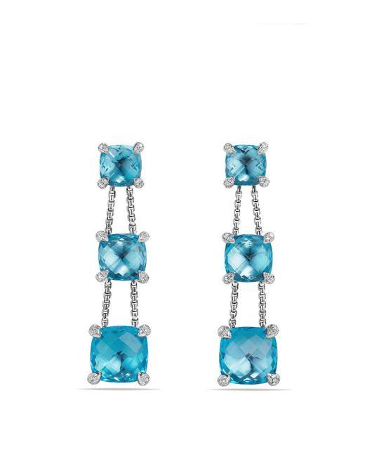 David Yurman   Châtelaine Linear Chain Earrings With Blue Topaz And Diamonds   Lyst